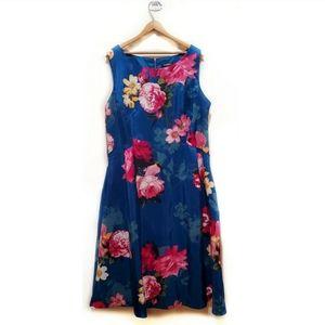 🎉Roz & Ali Teal Blue Floral Flared Retro Dress🎉